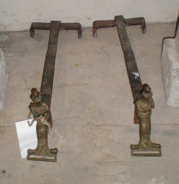 Pair of  Antique Brass Andirons