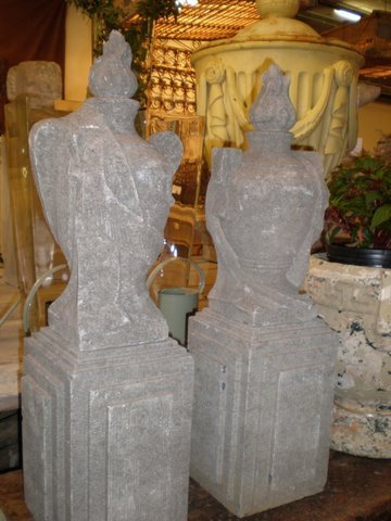 Pair of Italian Fire Drape Urns