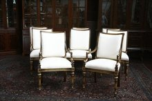 8 Luxury Dining Chairs | French Louis XVI | High End Upholstered Dining Chairs | Gold Leaf