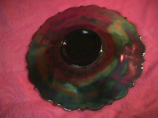 Fenton Carnival Glass Holly Plate=Emerald Green