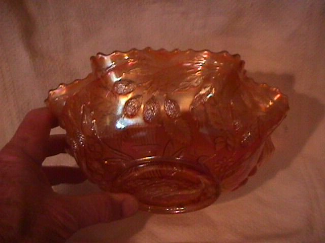 Fenton Carnival Glass (Peacock At The Urn With Bee)  Bowl =Marigold