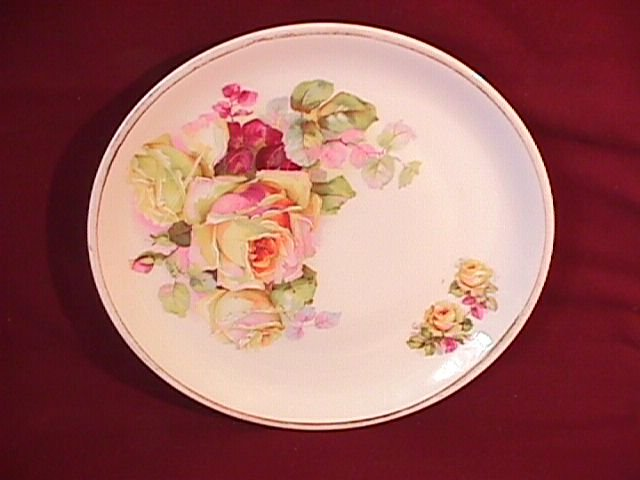 Display Plate Featuring Yellow Roses W/Hand Enameling