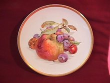 Porcelain Display Plate Featuring Apple, Cherries and Walnut