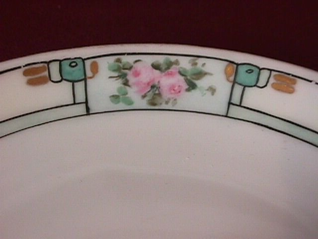 Porcelain Display Plate  Featuring Pink Roses in Frame