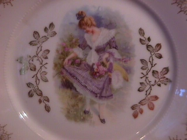Porcelain Display Plate of Victorian Lady With Apron Full of Roses