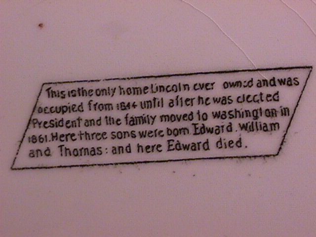 Lincoln's Home Display Plate (Springfield, Illinois)