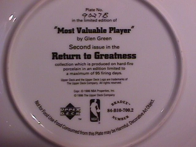 1995-96  Most Valuable Player Collectors Plate