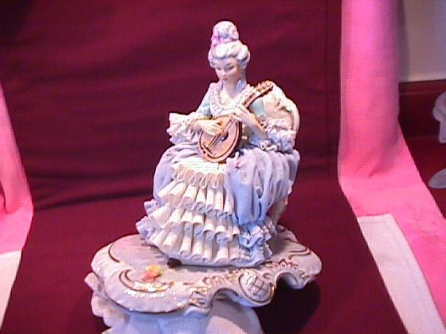 Large Sandizell & Hoffner & Co., W Germany Porcelain Lace Figurine