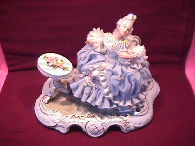 Sandizell & Hoffner & Co.,W. Germany Porcelain Lace= Lady Having Tea