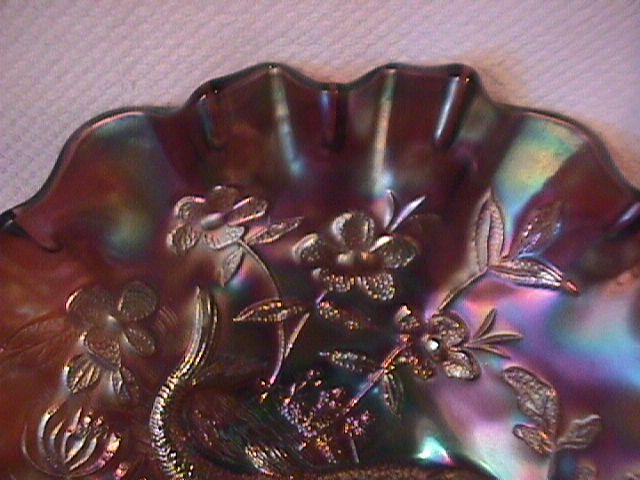 Beautiful Millersburg (Big Fish) Bowl (Amethyst)
