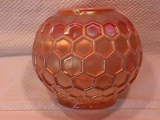 Dugan Carnival Glass (Honeycomb) Rosebowl (Peach Opalescent)