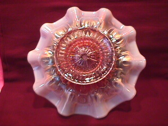 Dugan (Raindrops) Dome Footed Bowl (Peach Opalescent)