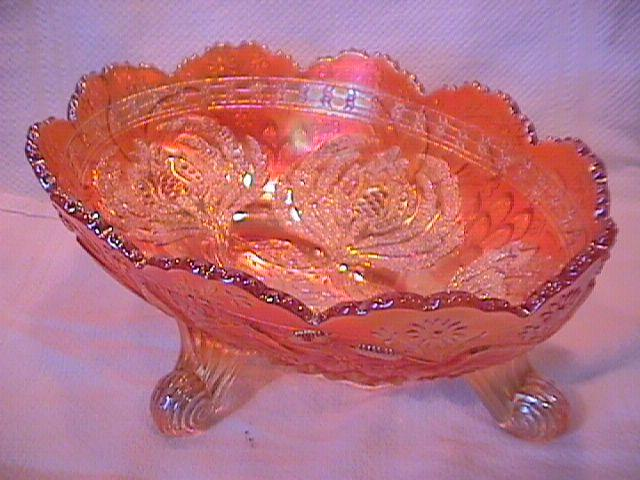 Fenton Carnival Glass (Thistle) Banana Boat (Marigold)