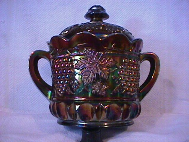 Northwood Carnival Glass (Grape & Cable) Covered Cookie Jar (Amethyst)