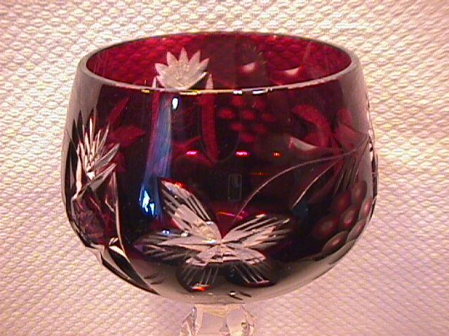 Imperial Crystal (Cranberry Cut to Clear) #519 Hock Wine