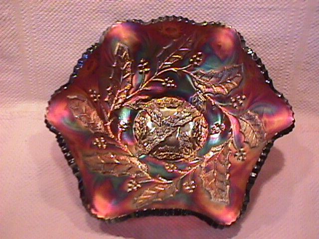 Millersburg Carnival Glass (Holly Whirl) Bowl-Amethyst