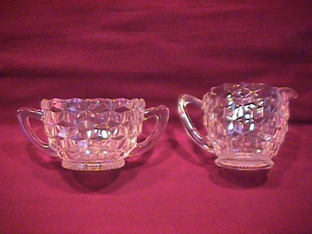 Hazel Atlas Depression Glass (American/Cube) Creamer & Sugar