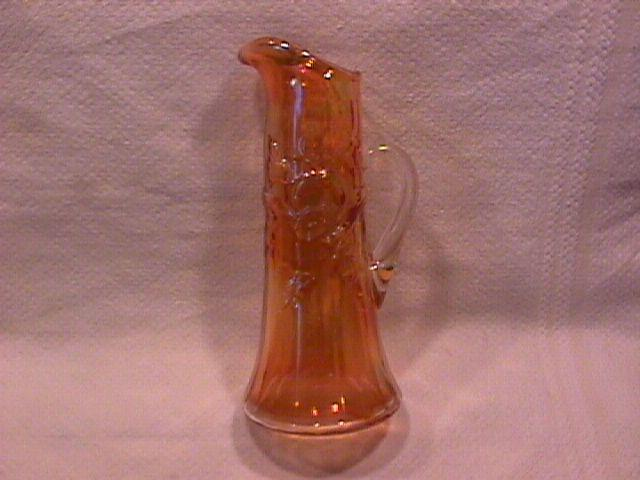 Carnival Glass ( Morning Glory Miniature Pitcher) Marigold