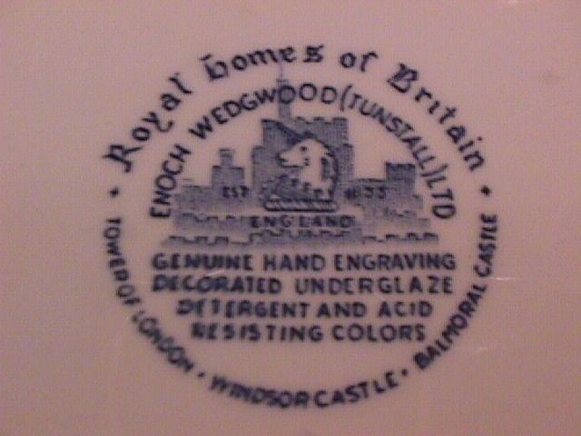 Wedgwood China (Royal Homes of Britain)-Blue  Cake Plate