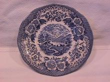 Royal Warwick China (Lochs of Scotland)-Blue Cake Plate