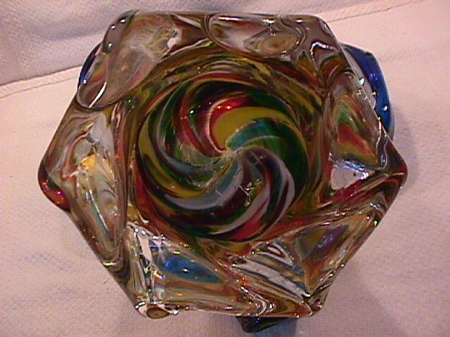 Art  Glass Hand-Blown, Italiian, Venetian (Mardi Gras= Colors Vase)