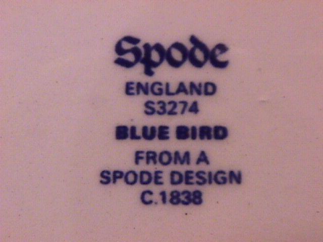 Spode China (Blue Bird)=#S-3274 Cake Plate