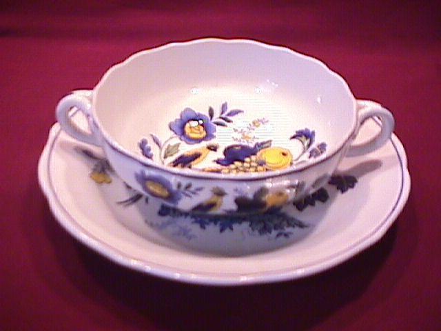 Spode China (Blue Bird)=#S-3274 Creamsoup Cup & Saucer