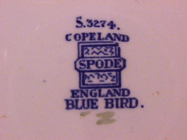 Spode China (Blue Bird)=#S-3274 Creamsoup Cup & Saucer