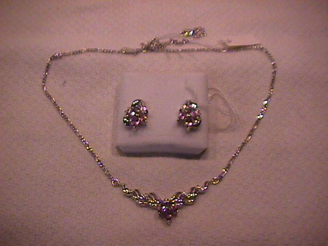 Thailand Set=Elegant Sterling & Amethyst Necklace & Earrings