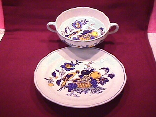 Spode China (Blue Bird)=S-3274 Cream Soup & Saucer