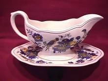 Spode China (Blue Bird)=S-3274 Gravy Boat & Liner