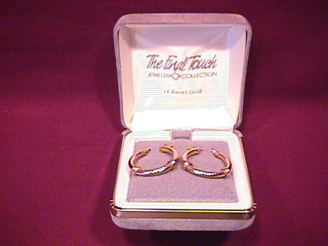 14K Gold Fancy Hoop Earrings
