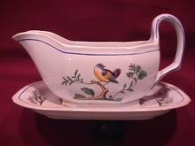 Spode Finestone (Queens Bird) Gravy Boat Fast on Stand