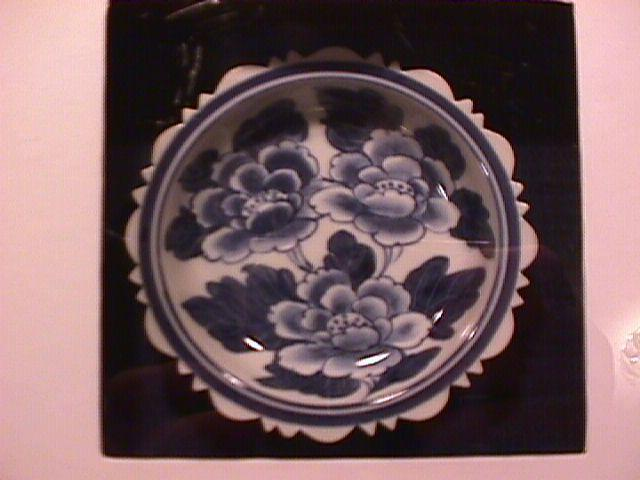 Flow Blue Sauce Bowl Set in a Shadow Box