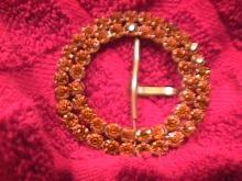 Vintage Beautiful Amber Rhinestone & Brass Belt Buckle