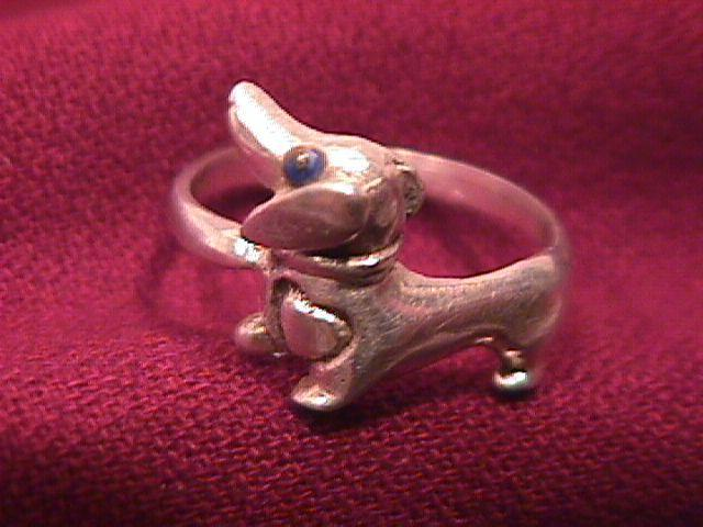 Sterling-925 Dachshund Ring=7 1/2