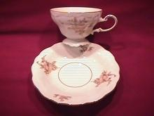 Johann Haviland Fine China (Sepia Rose) Fancy Footed Cup & Saucer