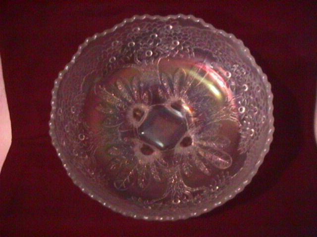 Fenton Carnival Glass (Orange Tree) Master Berry Bowl=White