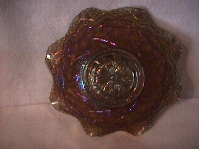 Imperial Carnival Glass (#496 Hattie) Bowl=Smoke