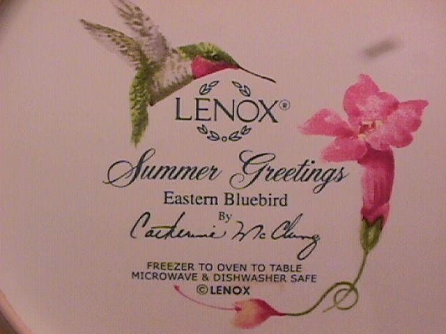 Lenox China (Summer Greetings) Salad Plate=Eastern Bluebird