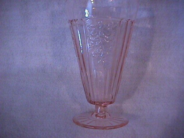 Hocking Glass Co.= Depression (Mayfair AKA Open Rose) Pink Ice Tea
