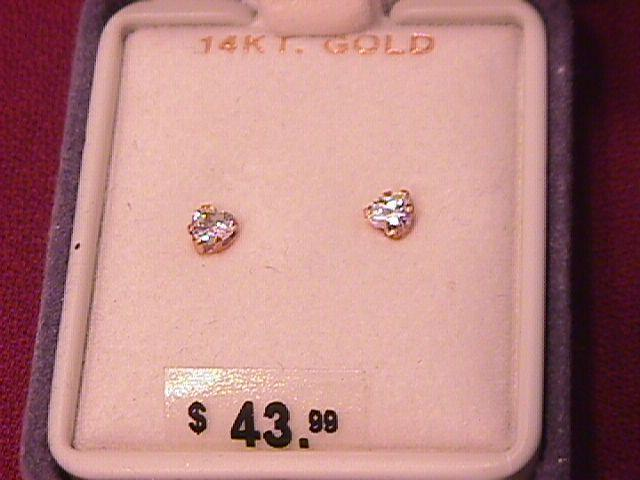 14K Solid Gold and CZ Heart Earrings
