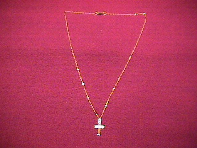 10k Gold Baby Christening Necklace With Cross