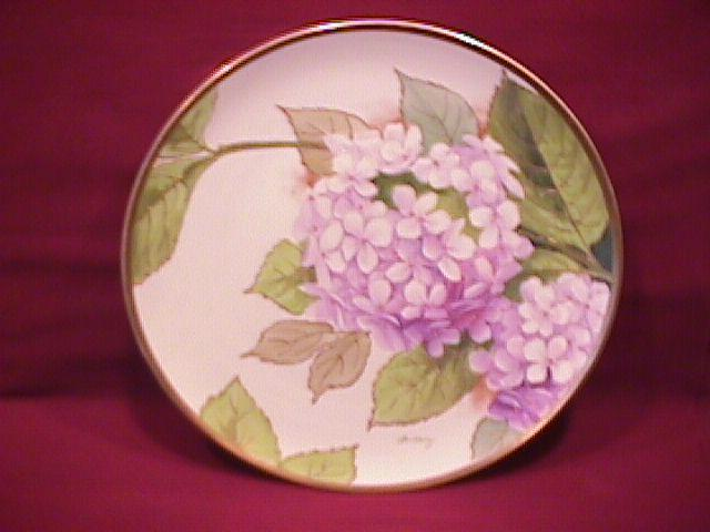 Austrian Hand-Painted (Purple Hydrangias) Display Plate