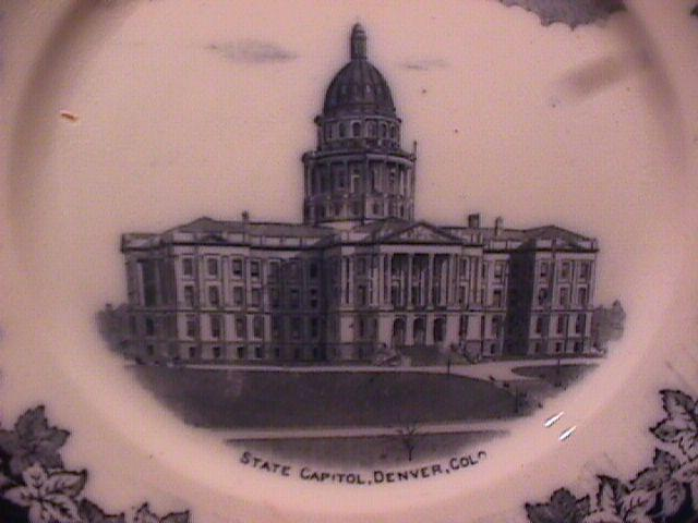 Flow Blue, England Display Plate-(Capitol Denver, Colorado)
