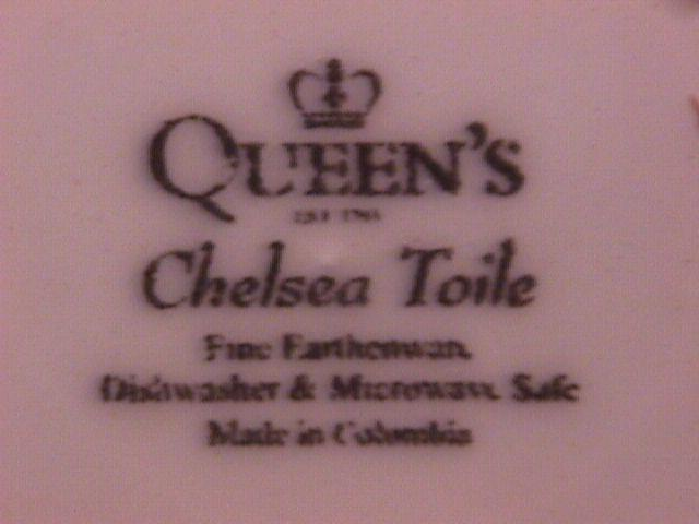 Queens China (Chelsea Toile) Blue Dinner Plate