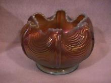 Northwoods Carnival Glass (Drapery) Rosebowl-Aqua-Opalescent