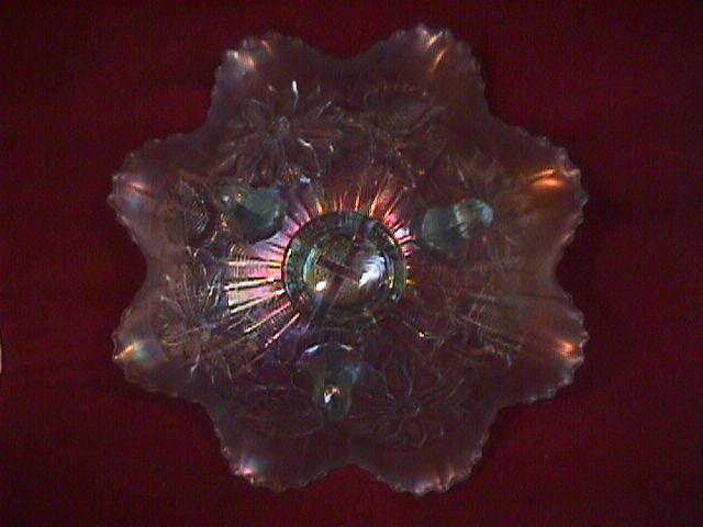 Northwoods Carnival Glass (Poinsettia & Lattice) Bowl-Ice Blue