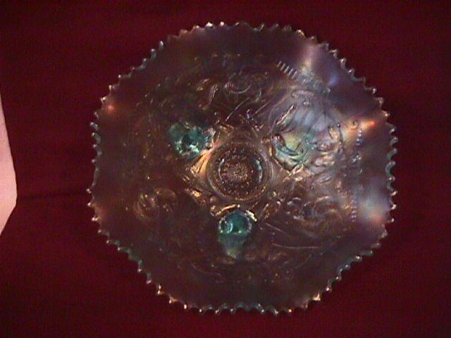 Northwoods Carnival Glass (Wishbone) Bowl-Ice Blue