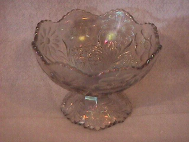 U. S. Glass Co. Carnival Glass (Cosmos & Cane) Compote-Frosty White